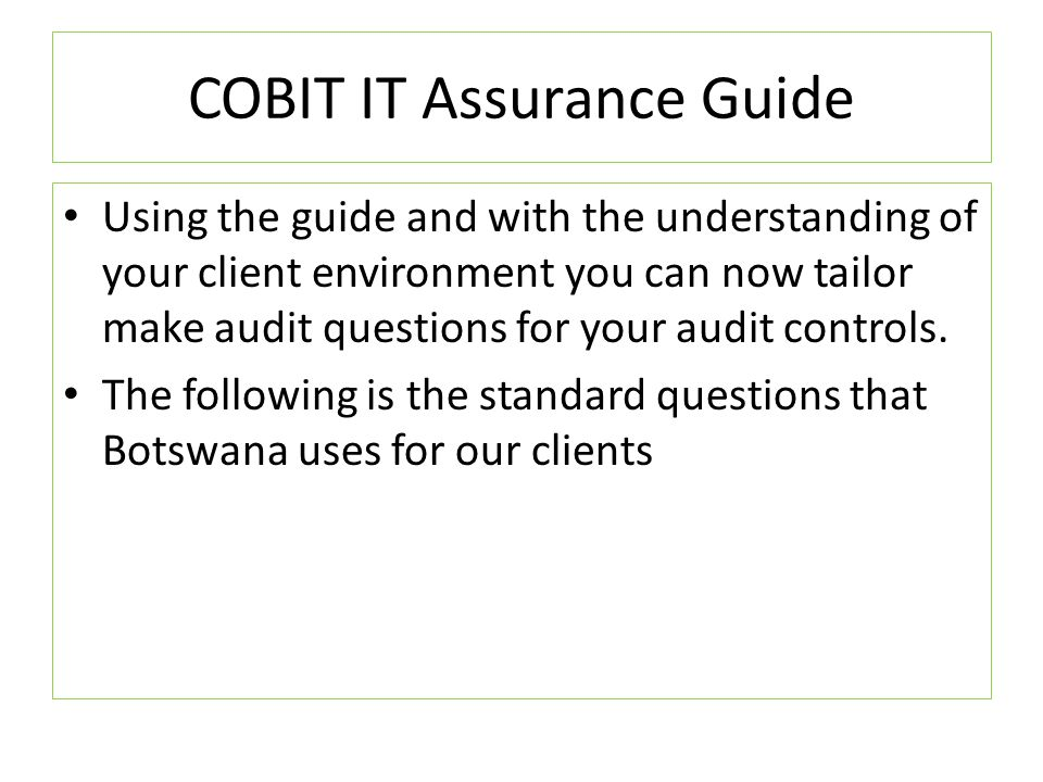 COBIT IT Assurance Guide