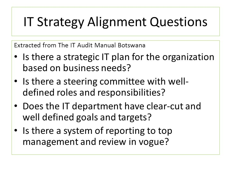 IT Strategy Alignment Questions