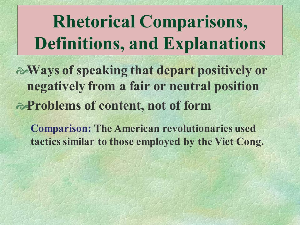 Rhetorical Comparisons, Definitions, and Explanations