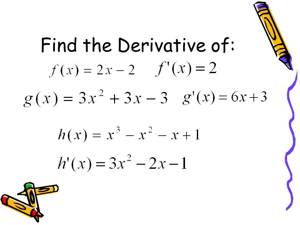 Find the Derivative of: