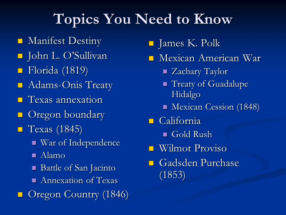 Topics You Need to Know Manifest Destiny James K. Polk