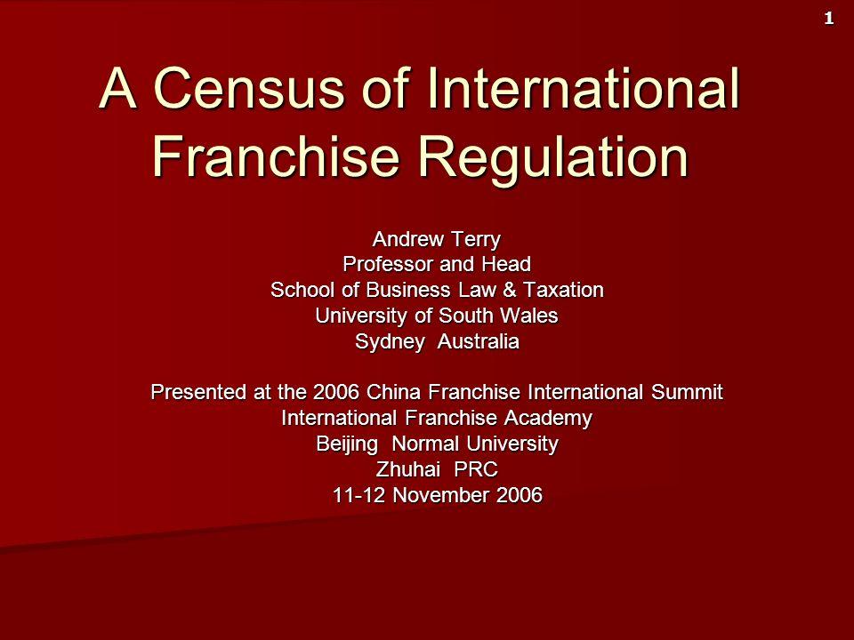 A Census of International Franchise Regulation