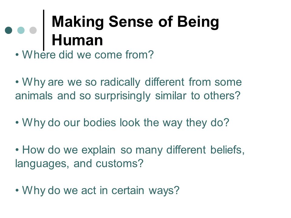 Making Sense of Being Human