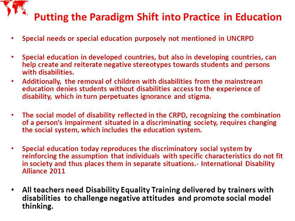 Putting the Paradigm Shift into Practice in Education