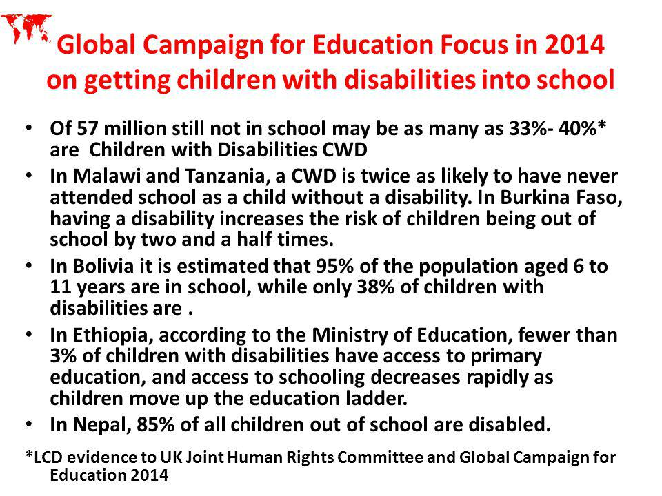 Global Campaign for Education Focus in 2014 on getting children with disabilities into school