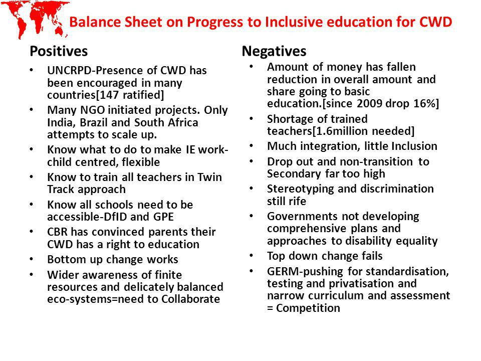Balance Sheet on Progress to Inclusive education for CWD