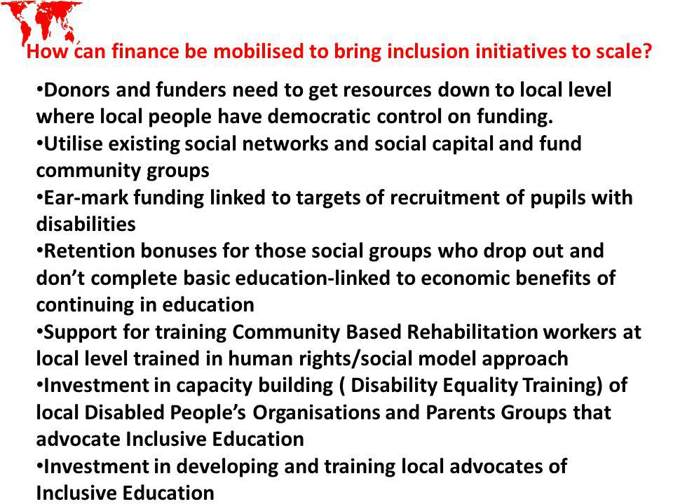 How can finance be mobilised to bring inclusion initiatives to scale