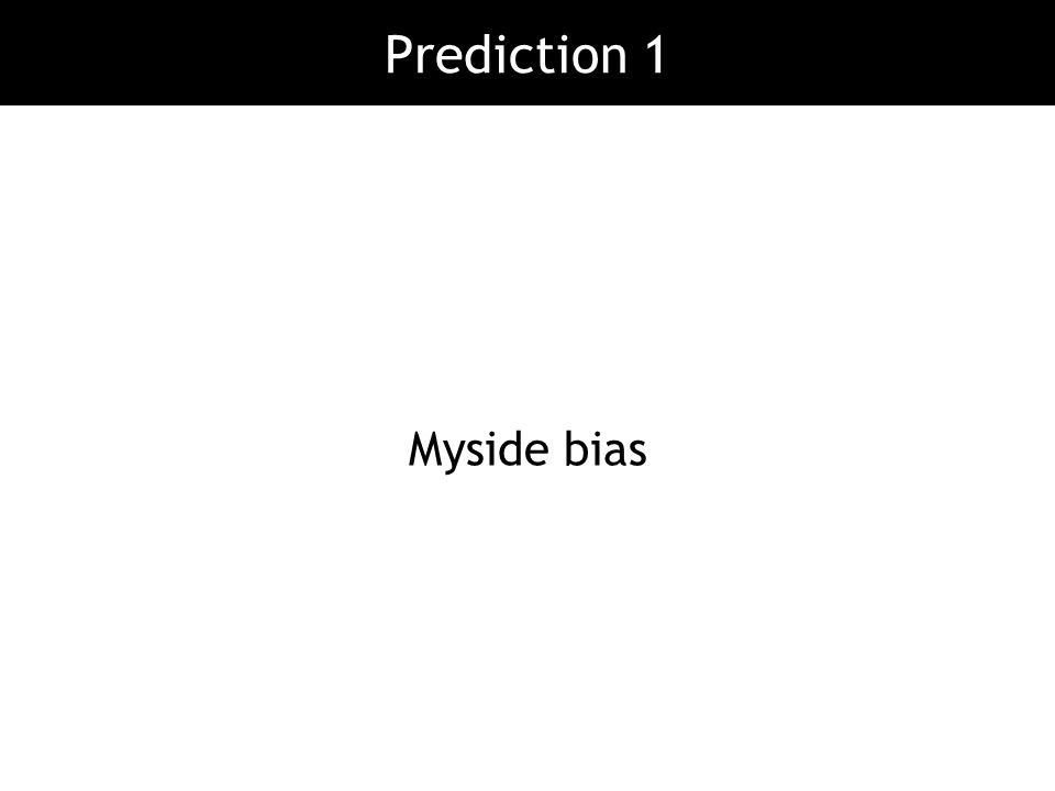 Prediction 1 Myside bias