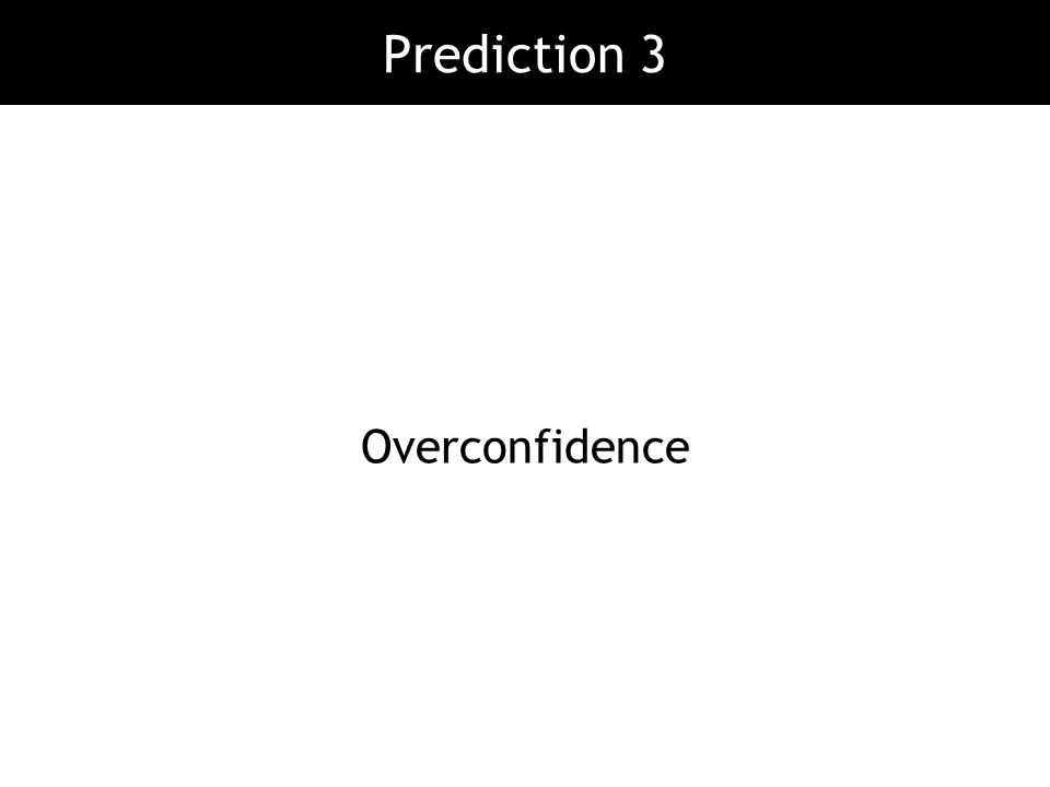 Prediction 3 Overconfidence