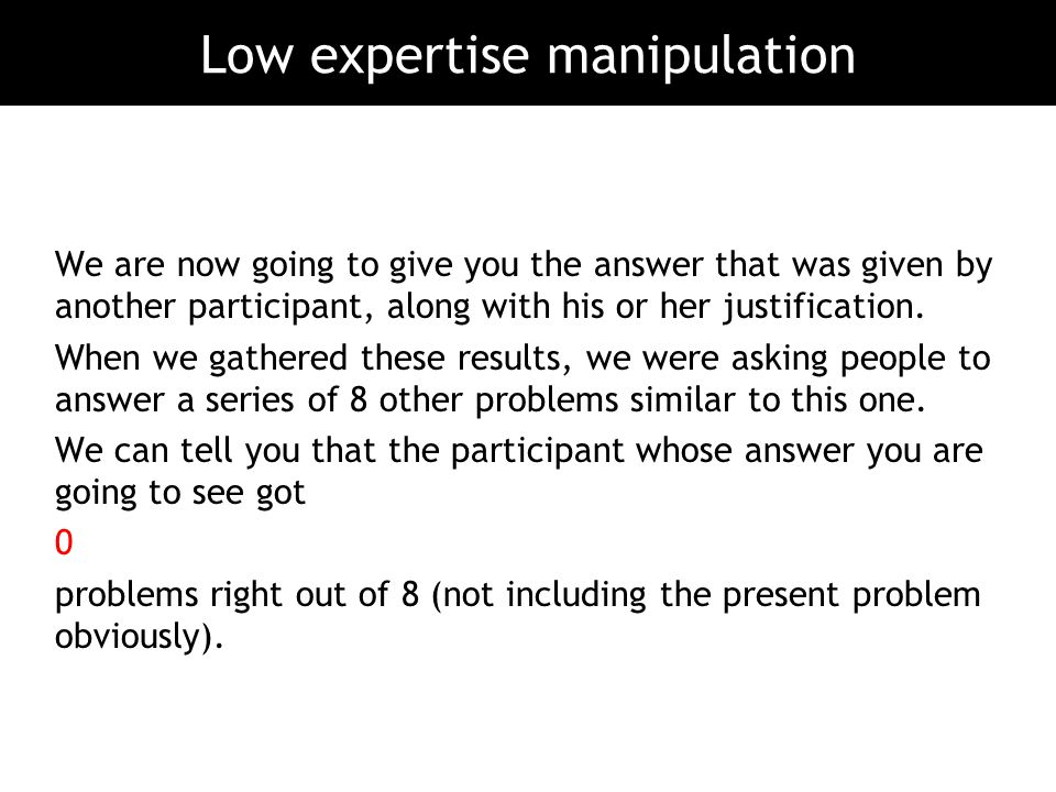 Low expertise manipulation