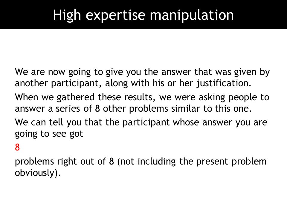 High expertise manipulation