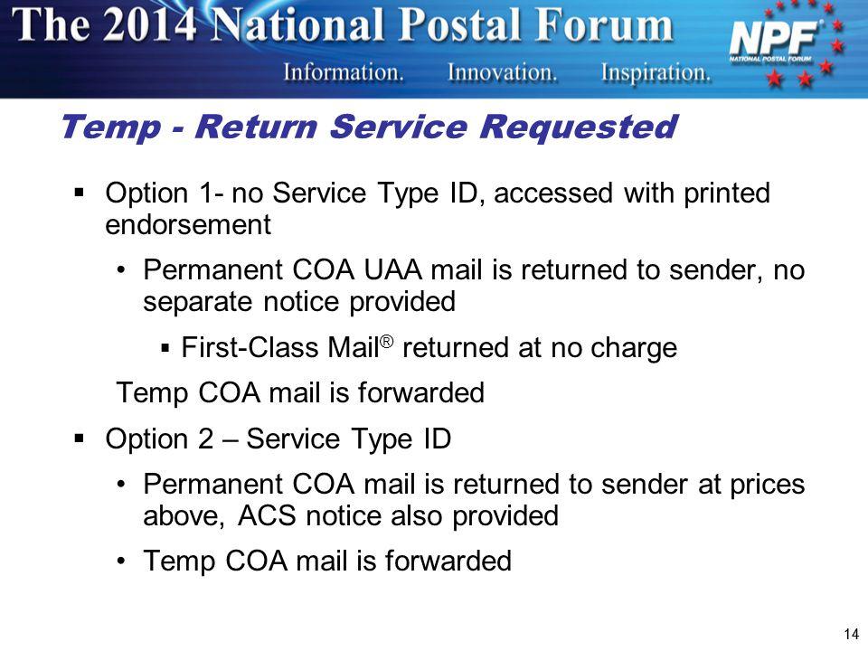 Temp - Return Service Requested