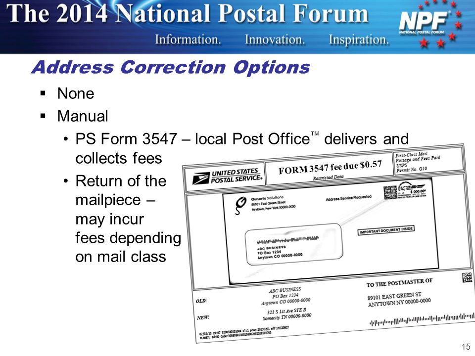 Address Correction Options