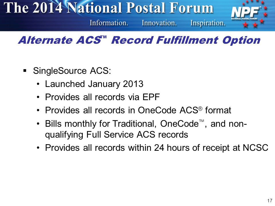 Alternate ACS™ Record Fulfillment Option