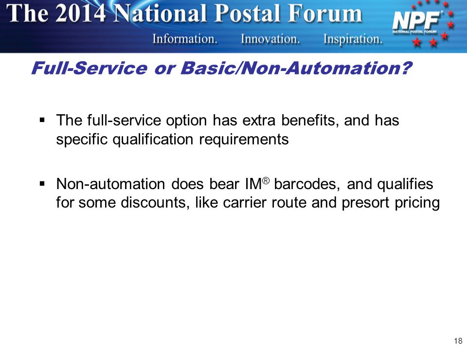 Full-Service or Basic/Non-Automation