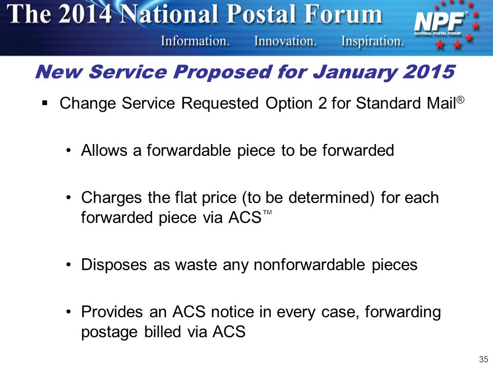 New Service Proposed for January 2015