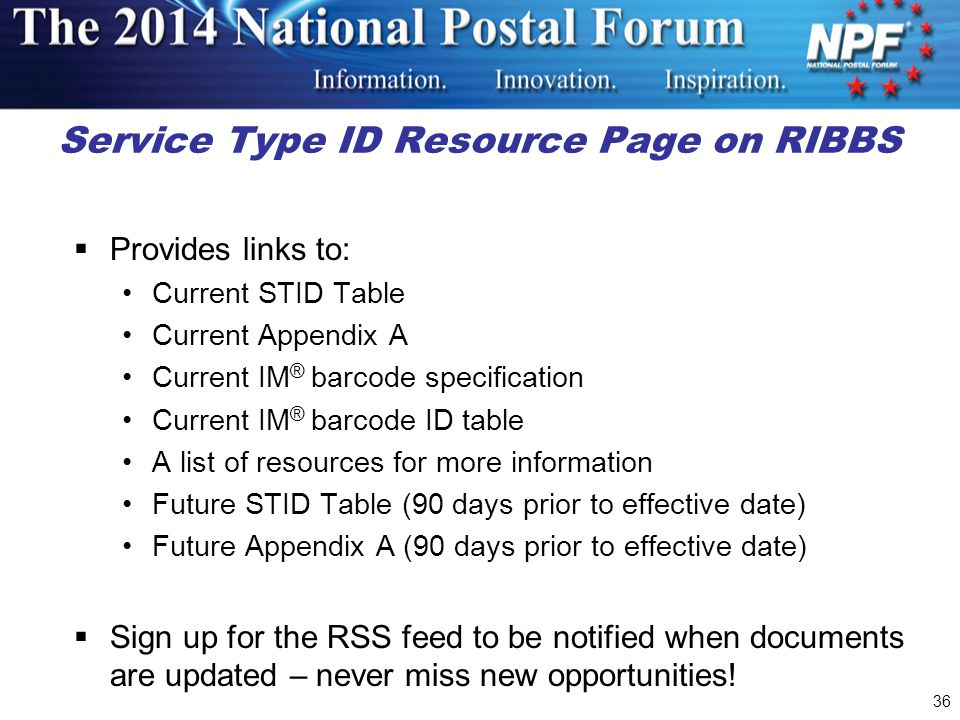 Service Type ID Resource Page on RIBBS