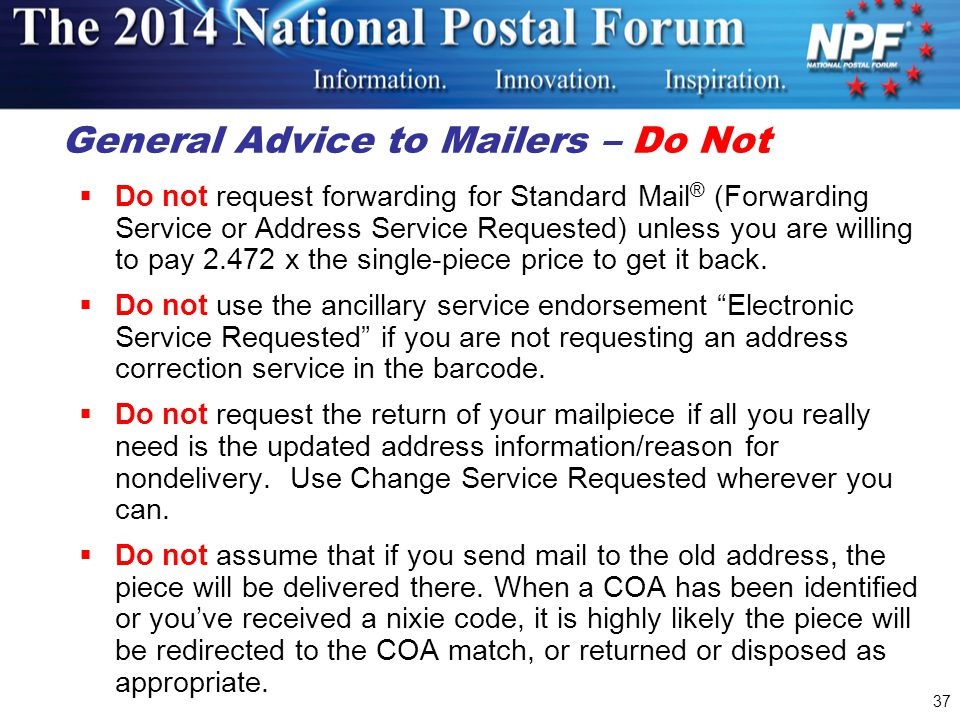 General Advice to Mailers – Do Not