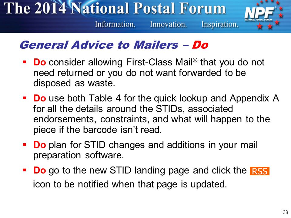 General Advice to Mailers – Do