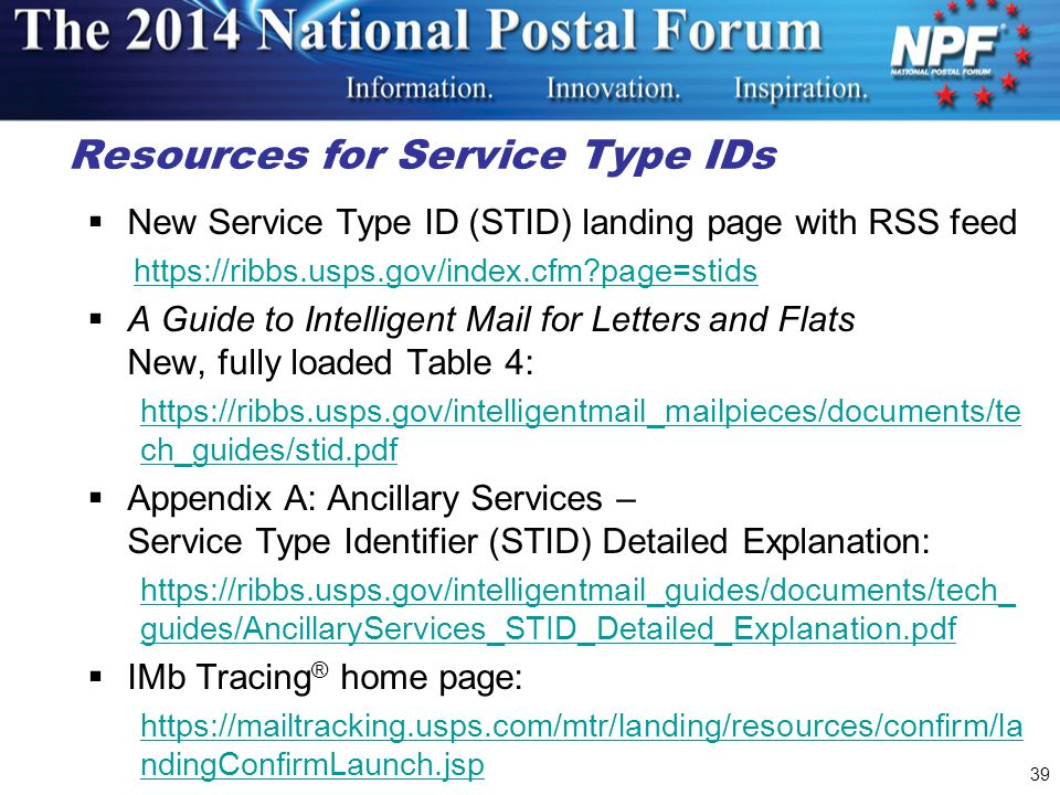 Resources for Service Type IDs