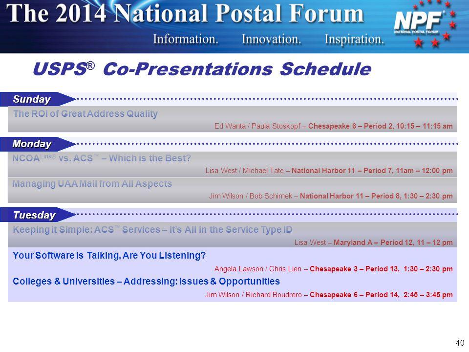 USPS® Co-Presentations Schedule