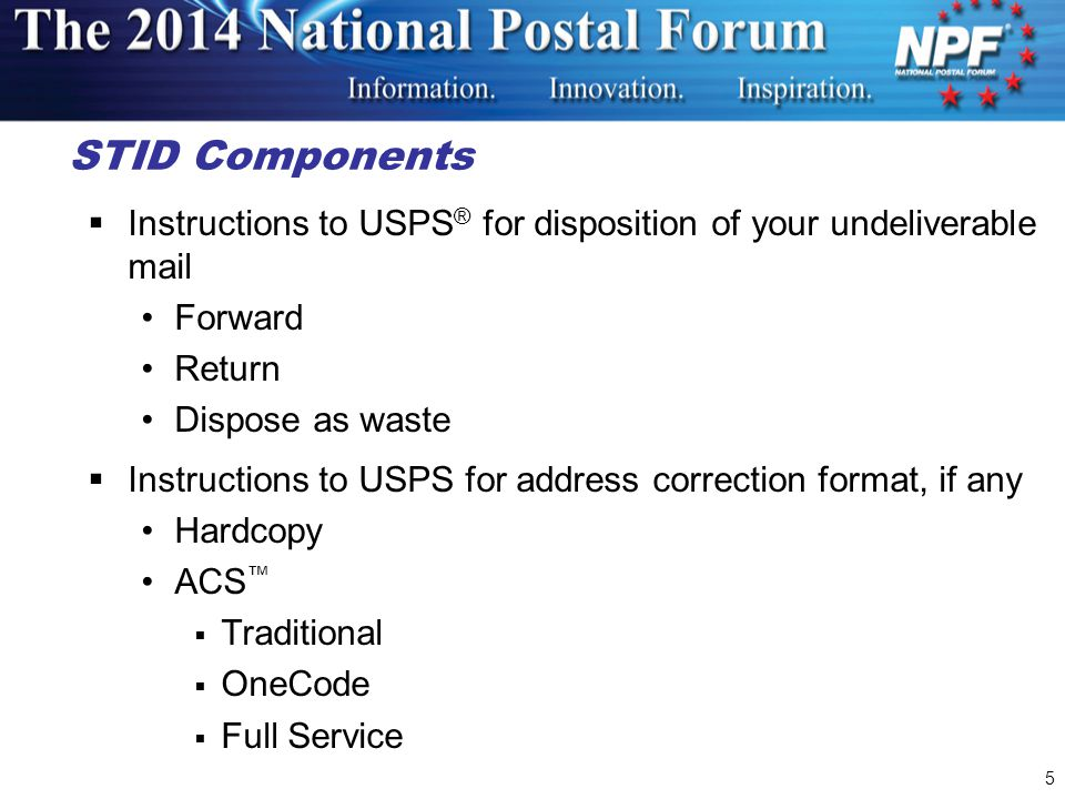 STID Components Instructions to USPS® for disposition of your undeliverable mail. Forward. Return.