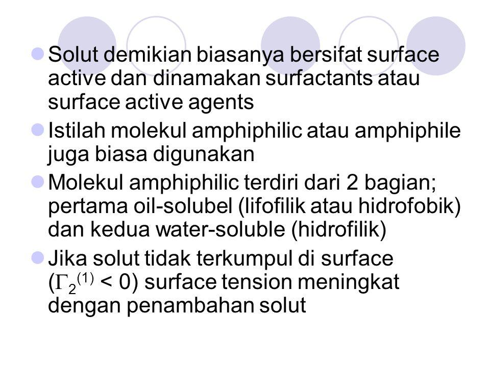 Solut demikian biasanya bersifat surface active dan dinamakan surfactants atau surface active agents