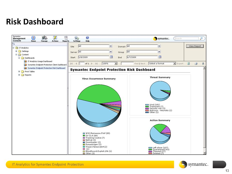 Risk Dashboard IT Analytics for Symantec Endpoint Protection 13