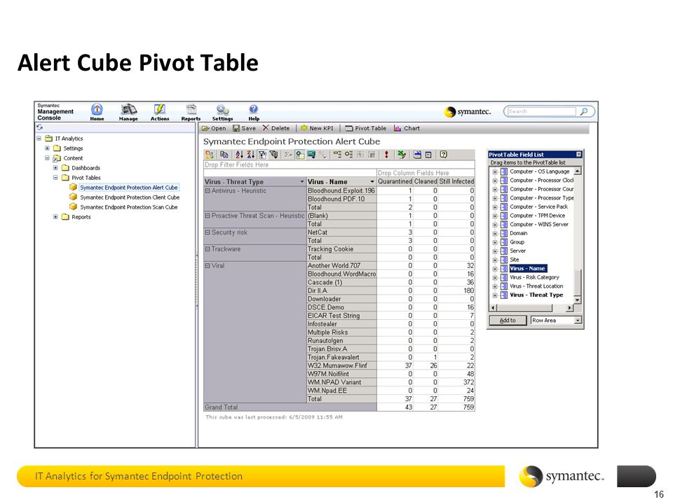 Alert Cube Pivot Table IT Analytics for Symantec Endpoint Protection