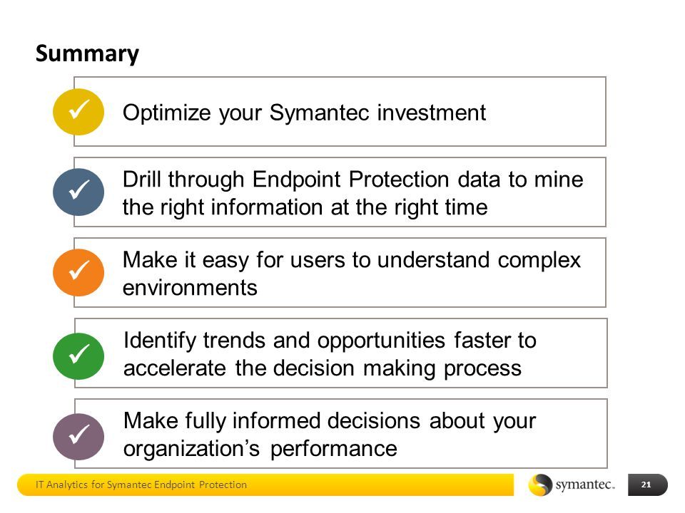      Summary Optimize your Symantec investment