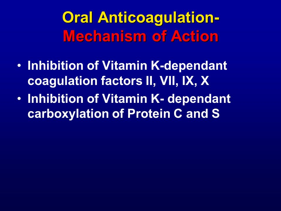 Oral Anticoagulation- Mechanism of Action