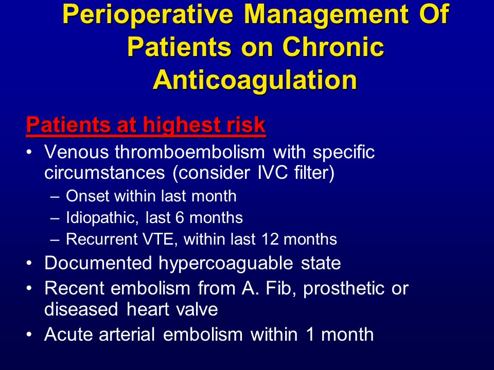 Perioperative Management Of Patients on Chronic Anticoagulation