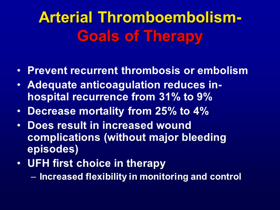 Arterial Thromboembolism- Goals of Therapy