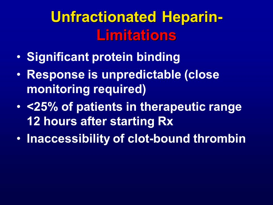 Unfractionated Heparin- Limitations