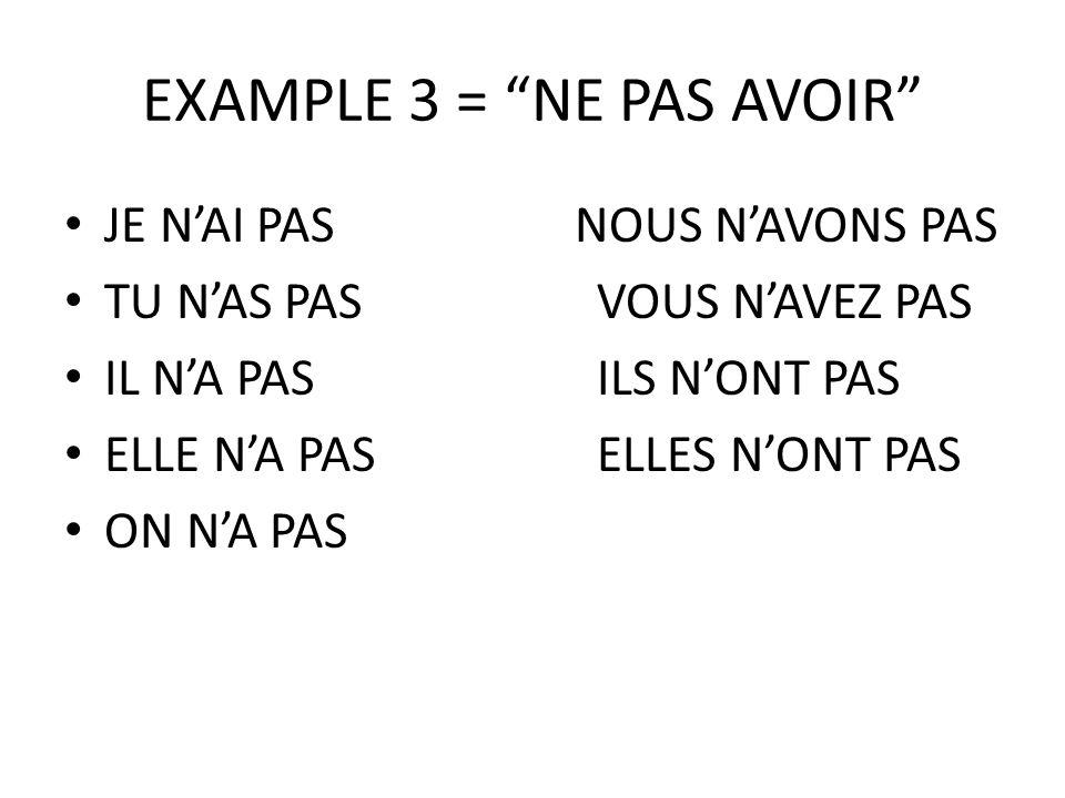 EXAMPLE 3 = NE PAS AVOIR