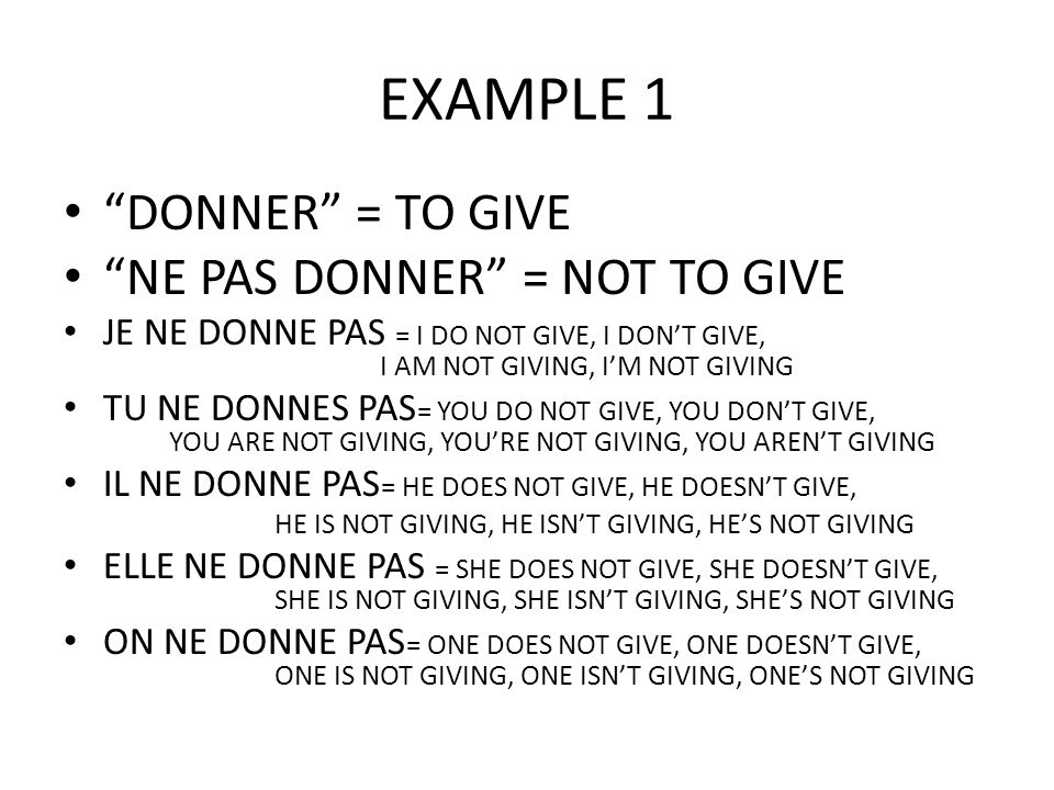EXAMPLE 1 DONNER = TO GIVE NE PAS DONNER = NOT TO GIVE
