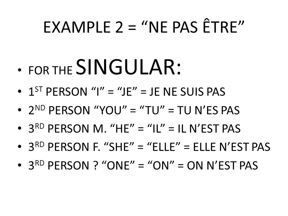 EXAMPLE 2 = NE PAS ÊTRE FOR THE SINGULAR: