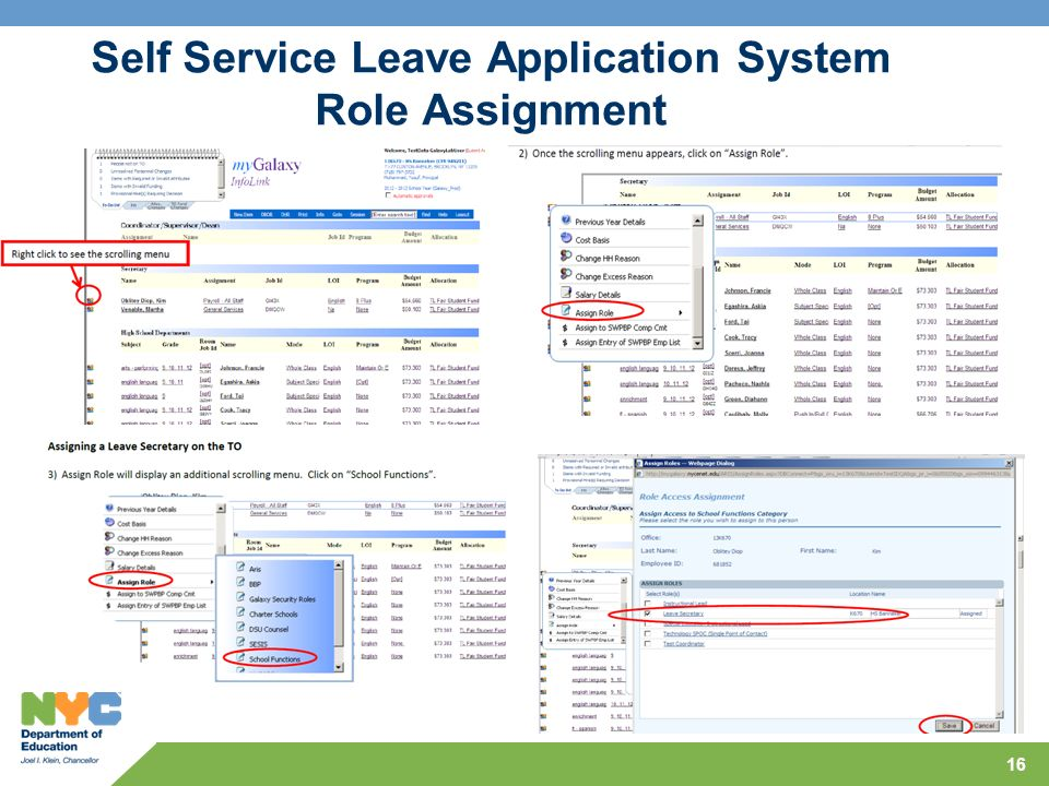 Self Service Leave Application System Role Assignment