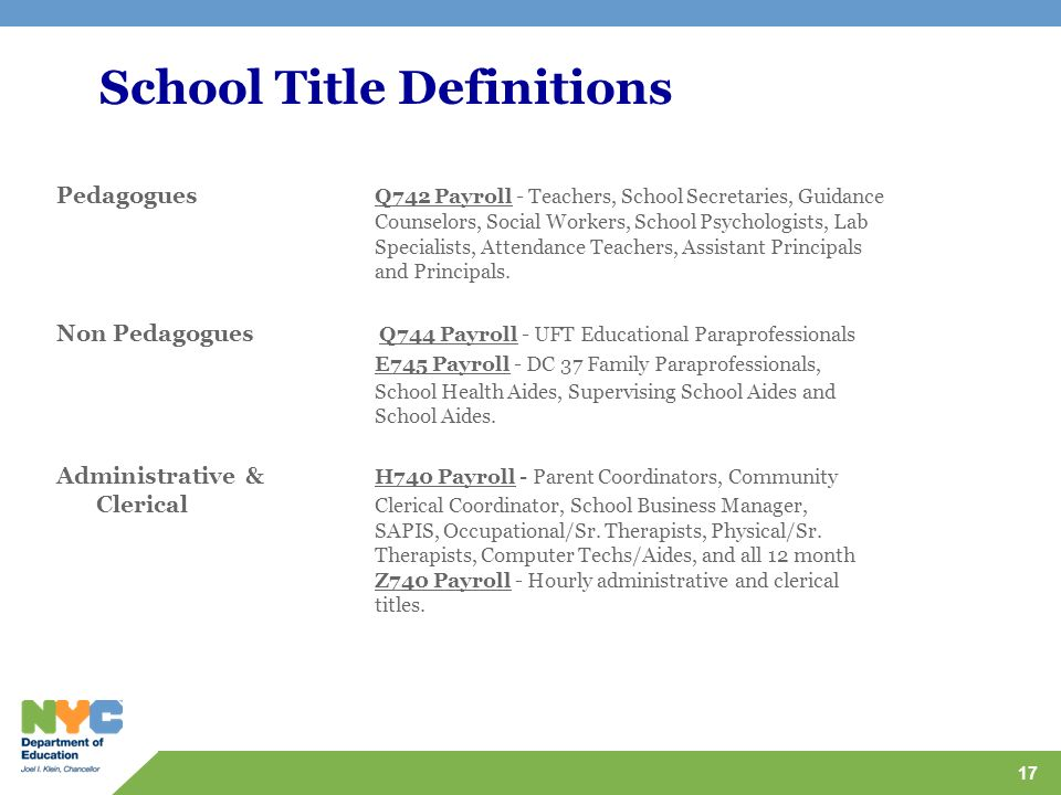 School Title Definitions