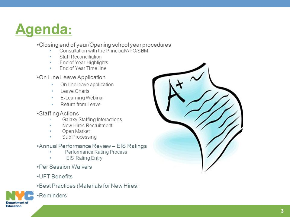 Agenda: Closing end of year/Opening school year procedures
