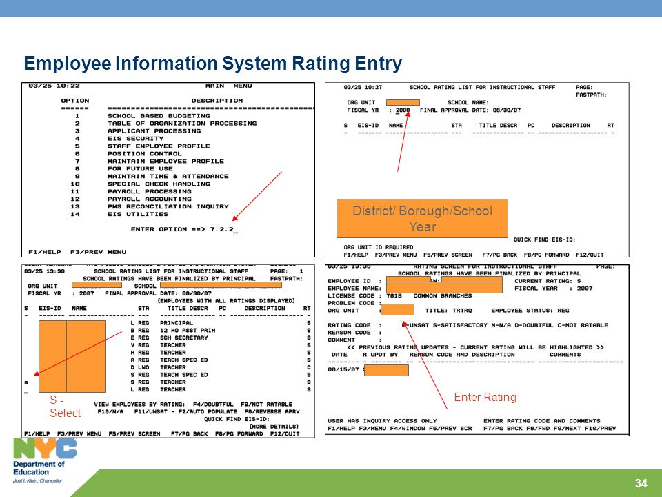 Employee Information System Rating Entry
