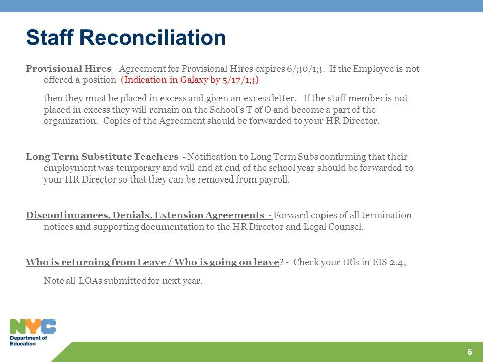Staff Reconciliation
