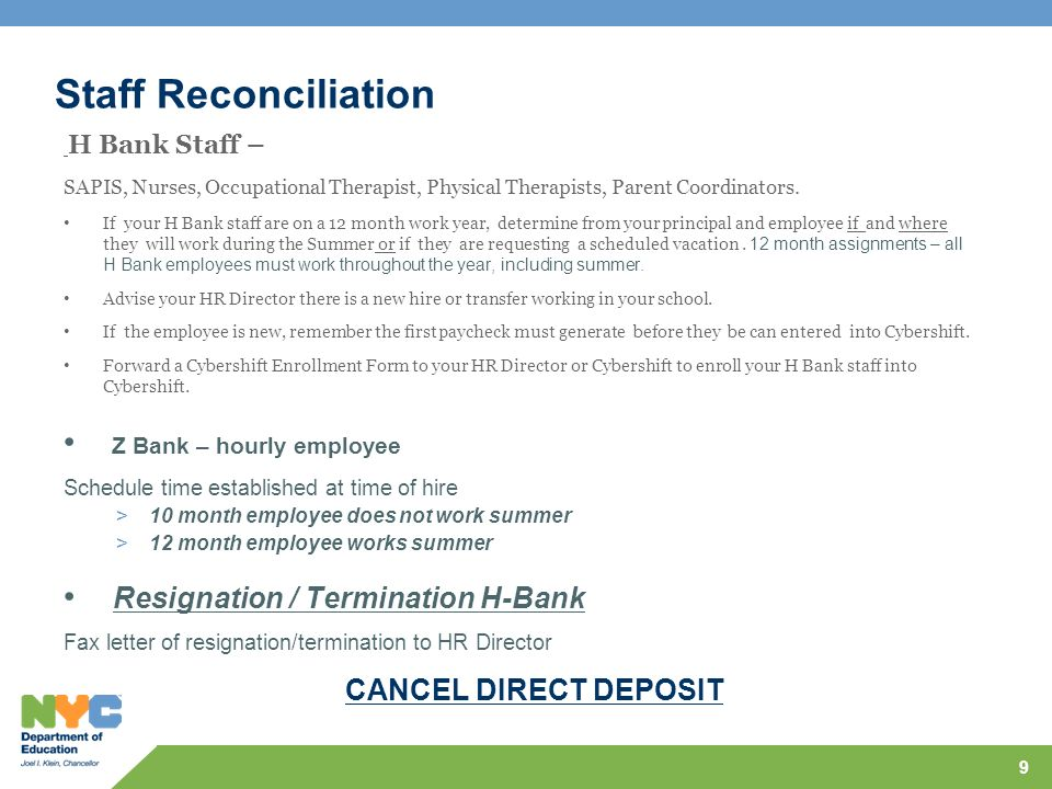 Staff Reconciliation Z Bank – hourly employee