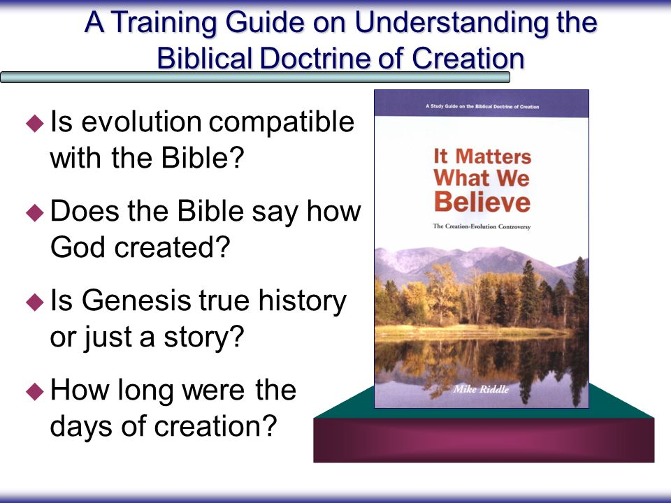 A Training Guide on Understanding the Biblical Doctrine of Creation