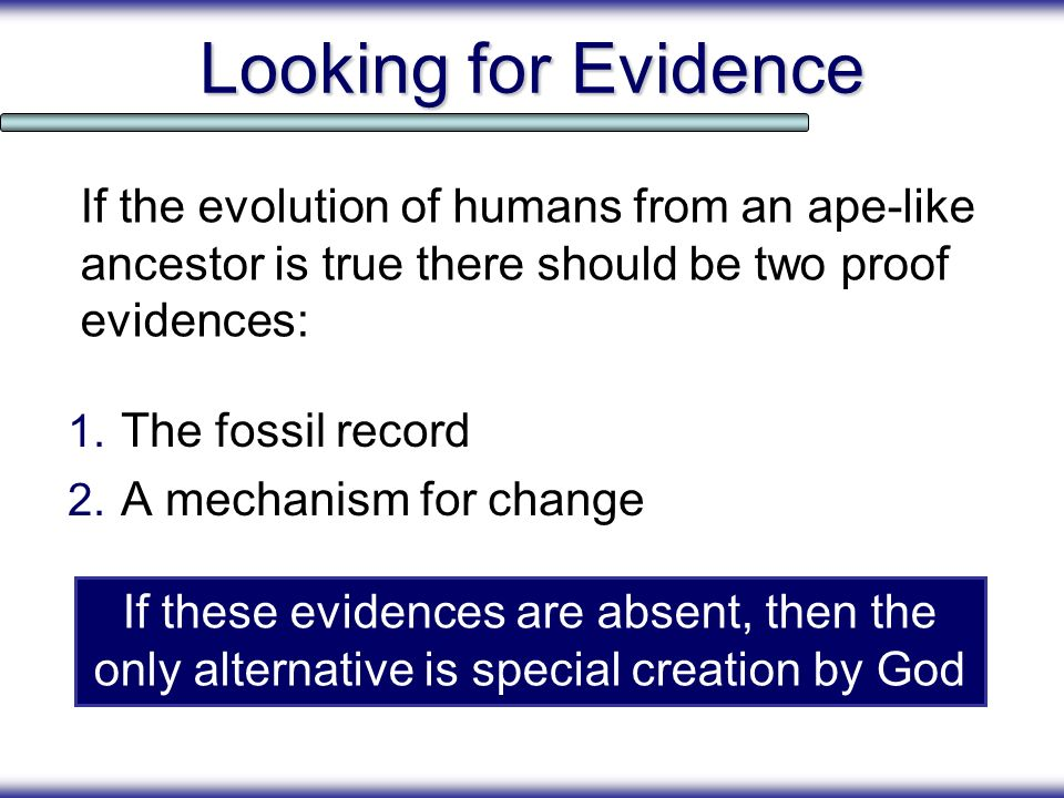 Looking for Evidence If the evolution of humans from an ape-like ancestor is true there should be two proof evidences: