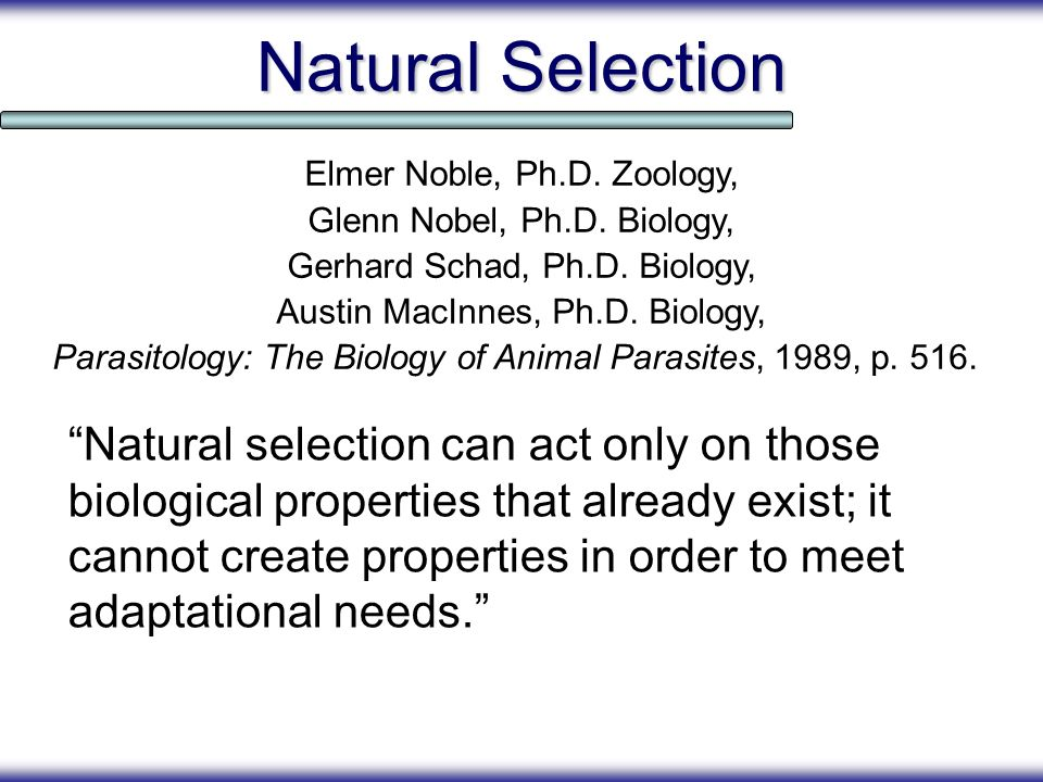 Natural Selection Elmer Noble, Ph.D. Zoology, Glenn Nobel, Ph.D. Biology, Gerhard Schad, Ph.D. Biology,