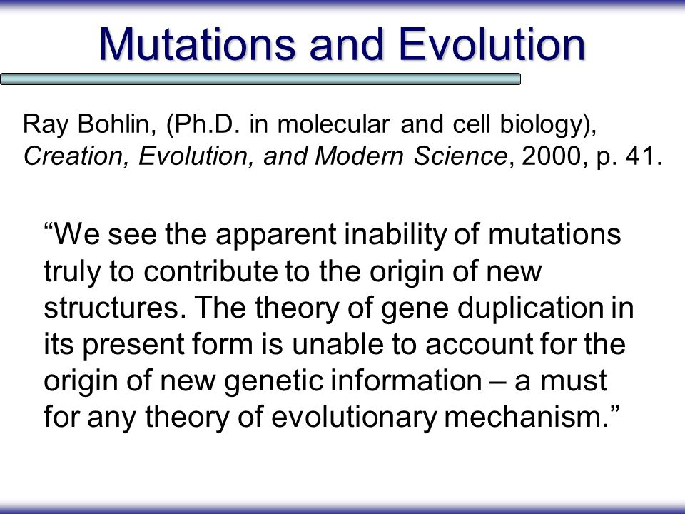 Mutations and Evolution