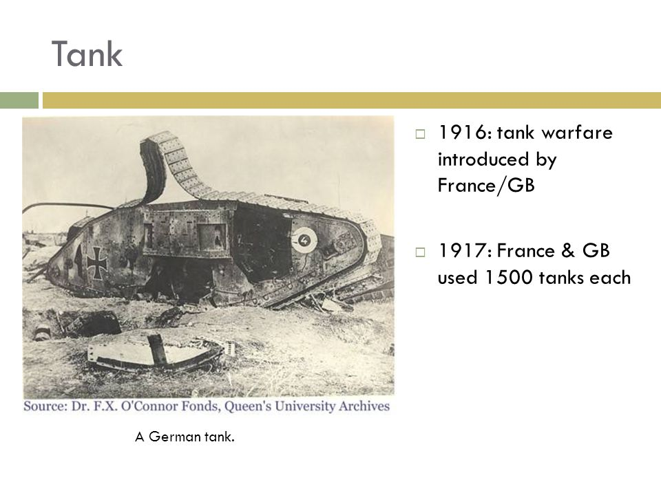 Tank 1916: tank warfare introduced by France/GB