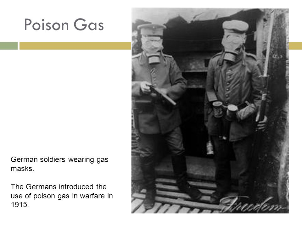 Poison Gas German soldiers wearing gas masks.
