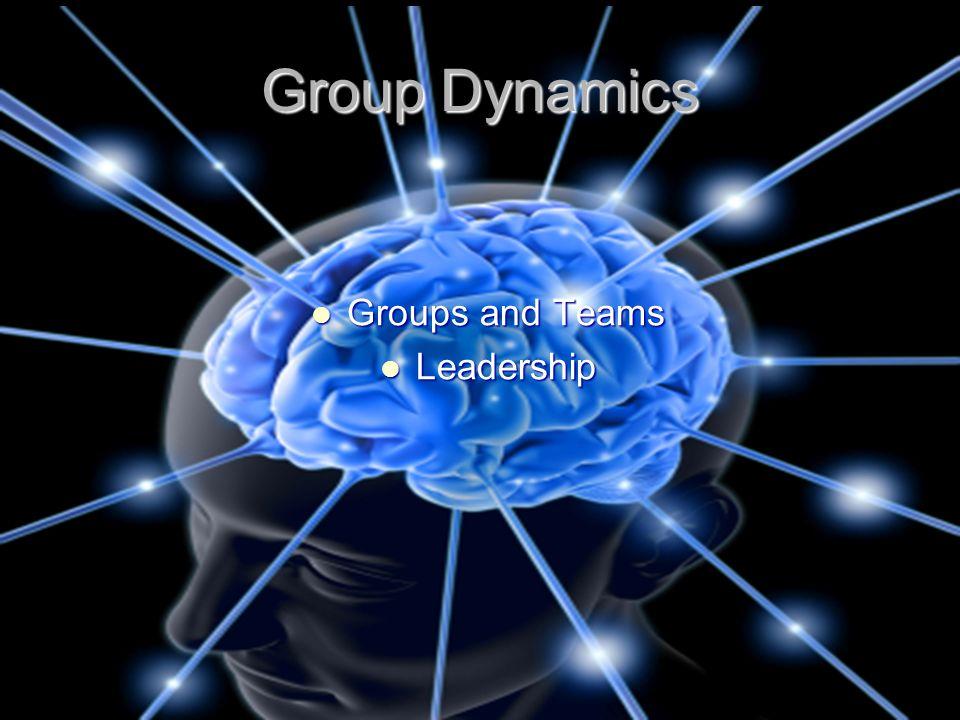 Group Dynamics Groups and Teams Leadership